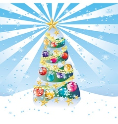 Christmas tree on snow hill5 vector