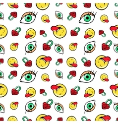 Eyes heart locks and emoticons seamless pattern vector