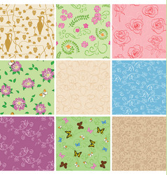 Floral seamless patterns with flowers vector