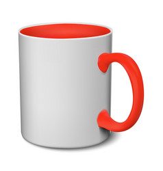 Gray and red mug realistic 3d mockup on a white vector