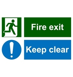 Green emergency exit sign on white vector
