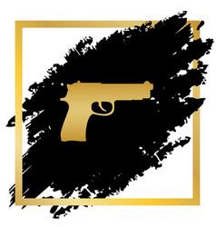 gun sign golden icon at vector image