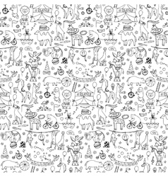 Hand drawn circus seamless pattern vector image vector image