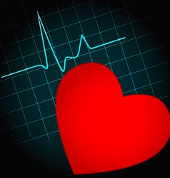 Heart symbol with heartbeat vector