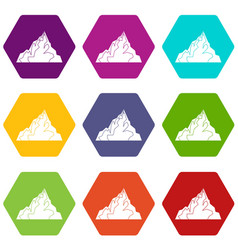 iceberg icon set color hexahedron vector image