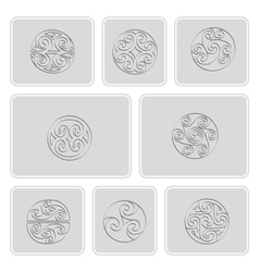 Icons with irish geometric ornament vector