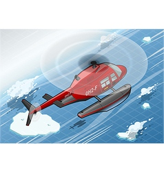 Isometric Arctic Emergency Helicopter in Flight in vector image vector image