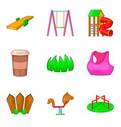 kid playground icon set cartoon style vector image vector image