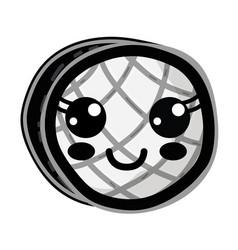 line kawaii cute happy waffles with honey vector image vector image