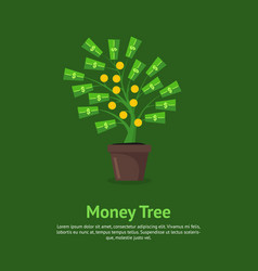 money tree growing in pot card poster vector image vector image