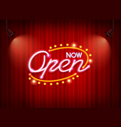 neon open sign on curtain vector image vector image