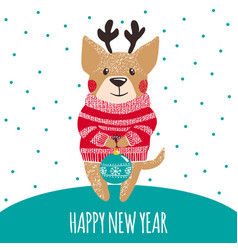 new year greeting card with cute dog vector image vector image