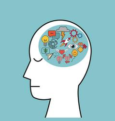 profile human head creativity idea vector image vector image