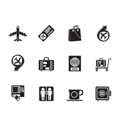 Silhouette airport and transportation icons vector image