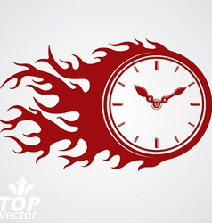 Time runs fast concept timer with burning flame vector