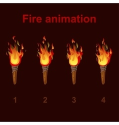 Torch fire animation sprites flame video frames vector image