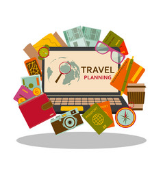 Travel planning flat concept vector