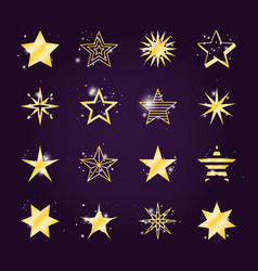 twinkle and light golden star icons vector image vector image