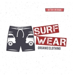 Vintage surfing wear stamp design surf clothing vector