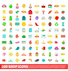 100 shop icons set cartoon style vector