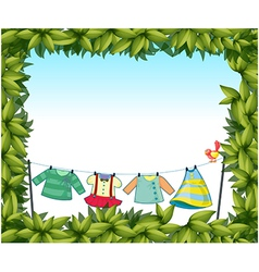 A frame border with hanging clothes and a bird vector