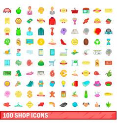 100 shop icons set cartoon style vector image