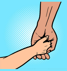Baby holds hand of parent pop art vector