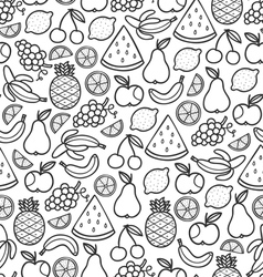 Fruits doodle pattern in black vector