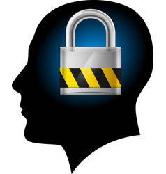 man with padlock in head on white background for vector image