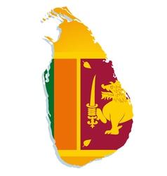 sri lanka map flag vector image