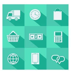 Set of online shopping and ecommerce icons vector