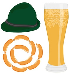 Beer sausage and hat vector