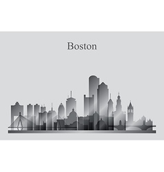 Boston city skyline silhouette in grayscale vector