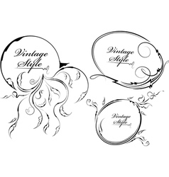 three decorative oval frame vector image