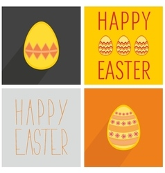 Flat easter egg set with wishes with long shadow vector