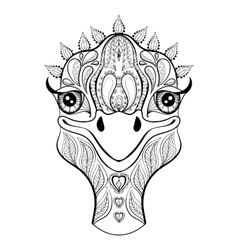 Ostrich for adult coloring page hand drawn vector