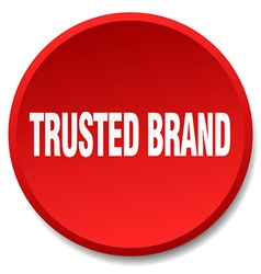 Trusted brand red round flat isolated push button vector