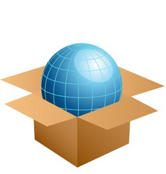 Globe in cardboard box vector