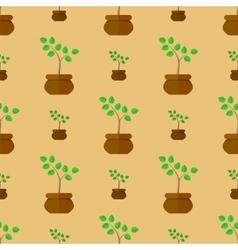 Flower pot seamless pattern vector