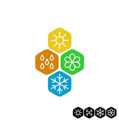 All season symbol winter snowflake spring flower vector