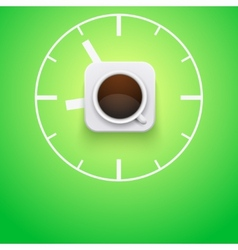 Background cup of coffee and time vector