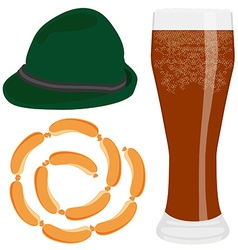 Beer sausage and hat vector image vector image
