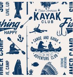 Canoe kayak and fishing club seamless pattern vector