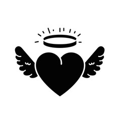 cute heart with wings and halo vector image