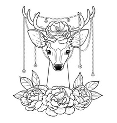 Deer and peonies outline pattern vector