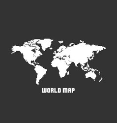 dotted blank white world map isolated on black vector image