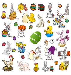 easter themes cartoon set vector image
