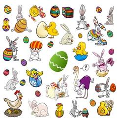 Easter themes cartoon set vector