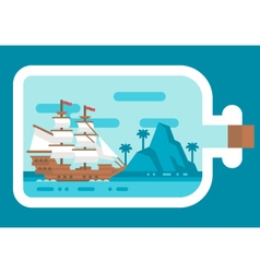 Flat design ship in a bottle vector image