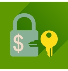 Flat icon with long shadow key lock vector
